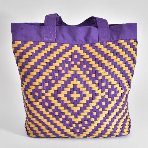 กระเป๋าผ้าสานทรงกระบอก คละลาย คละสี