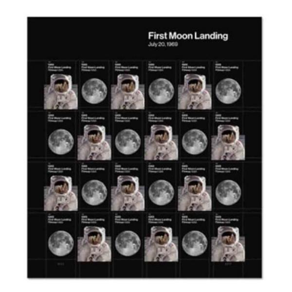 แสตมป์ที่ระลึกครบรอบ 50 ปี เหยียบดวงจันทร์ US : First Moon Landing เต็มแผ่น 24 ดวง