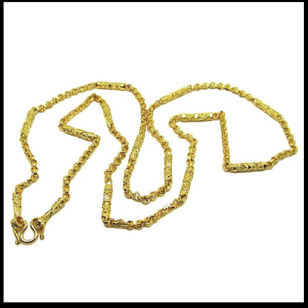 TanGemsสร้อยคอลายผ่าหวายสลับแท่งกลมตัดลายยาว25.5นิ้วชุบทอง(469)