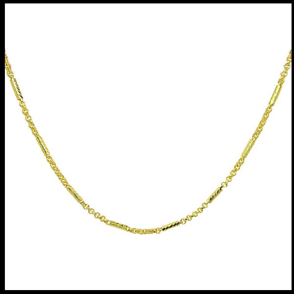 TanGemsสร้อยคอลายผ่าหวายสลับแท่งกลมตัดลายยาว19นิ้วชุบทอง(470)