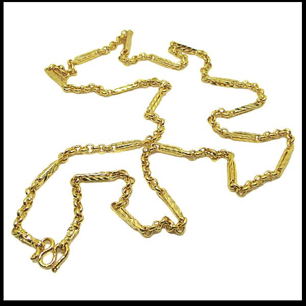 TanGemsสร้อยคอลายผ่าหวายสลับแท่งเหลี่ยมตัดลาย19นิ้วชุบทอง(472)