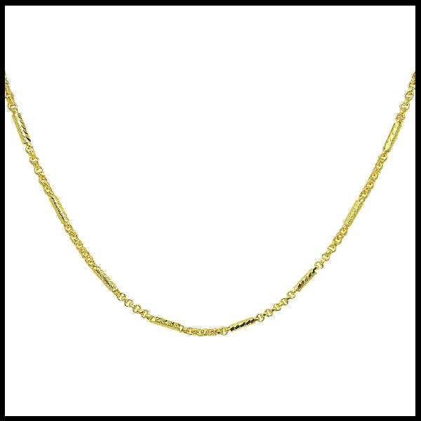 Tangemsสร้อยคอลายผ่าหวายสลับแท่งกลมตัดลายยาว25นิ้วชุบทอง(470)