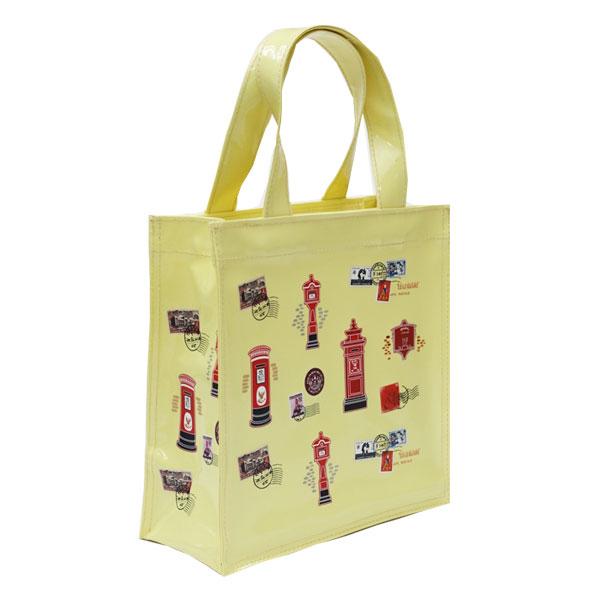 กระเป๋าผ้าแก้วพิมพ์ลาย ใบเล็ก สีเหลือง  ขนาด 20x20x8 ซม.