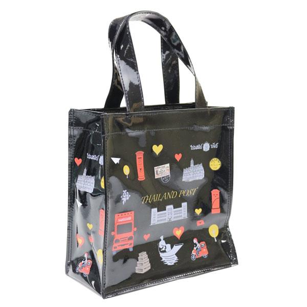 กระเป๋าผ้าแก้วพิมพ์ลาย ใบเล็ก สีดำ  ขนาด 20x20x8 ซม.