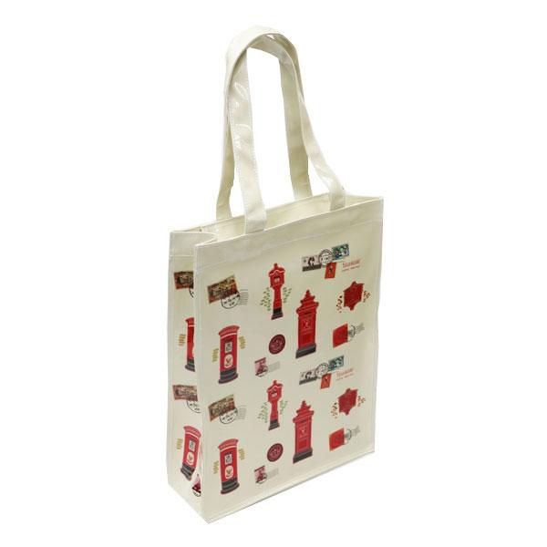 กระเป๋าผ้าแก้วพิมพ์ลาย ใบใหญ่ สีครีม ขนาด 36x28x10 ซม.