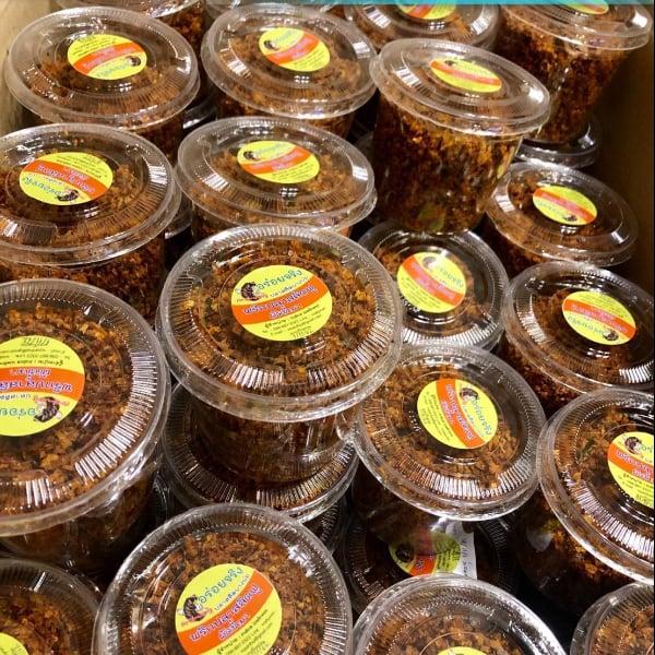 อร่อยจริง พริกสลิดฟูผัดขี้เมา set 4 กระปุก  บรรจุ 120 กรัม/1กระปุก