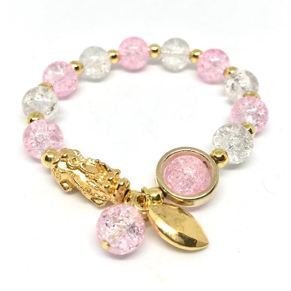 สร้อยหินโรสควอตปี่เซี่ยะจี้มงคล สีชมพู เสริมโชคลาภ เงินทอง ความรัก