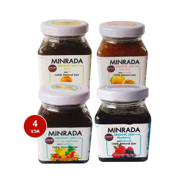 Minrada Organic Jam ขวดละ 220 g บรรจุ 4 ขวด