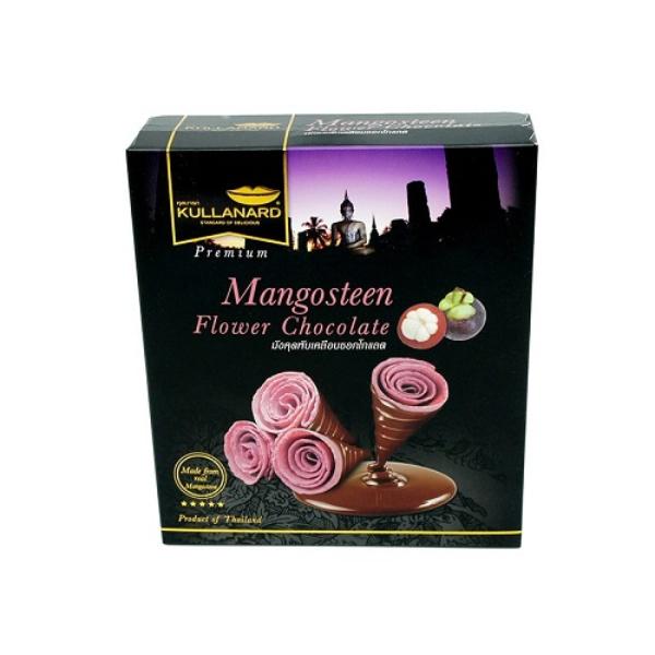 มังคุดพับเคลือบช็อคโกแลต Mangosteen Flower Chocolate แบบลัง