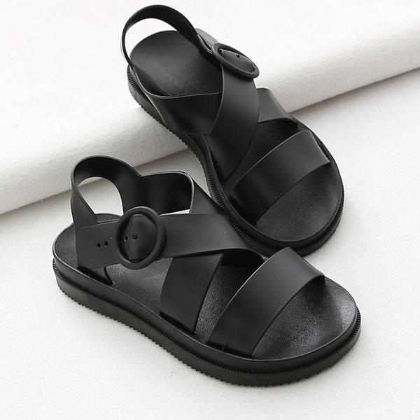 รองเท้ารัดส้นผู้หญิงสไตล์เกาหลี สีดำ Size 38