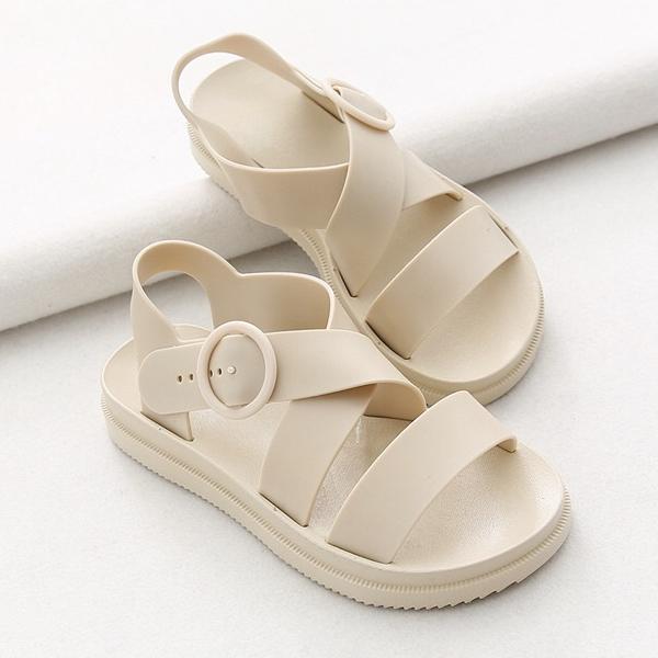 รองเท้ารัดส้นผู้หญิงสไตล์เกาหลี สีครีม Size 37