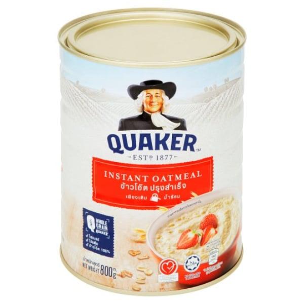 Quaker instant oatmeal ข้าวโอ๊ต สำเสร็จรูป กระป๋อง 800 กรัม #สีแดง ชงกับน้ำร้อน