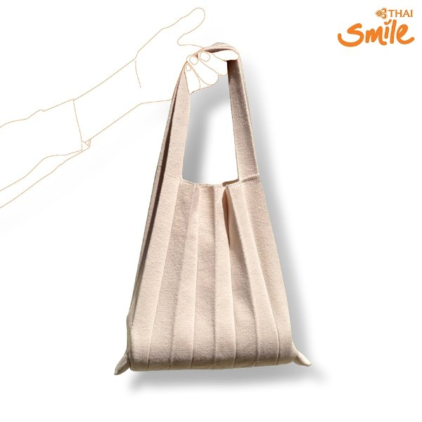 Thai Smile Airways - SMILE SHOP กระเป๋าพลีท Upcycling (Ivory)