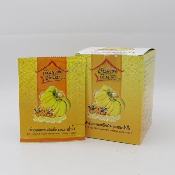 กล้วยหอมทองอัดเม็ด ผสมผงน้ำผึ้ง แบบกล่อง (1กล่อง บรรจุ 12 ซอง)
