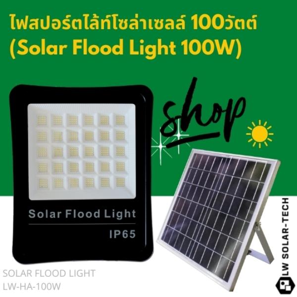 ไฟสปอร์ตไล้ท์โซล่าเซลล์ (Solar Flood Light) 100 วัตต์