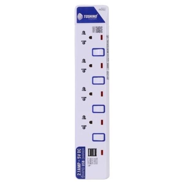 Toshino รางปลั๊กไฟ 4 ช่อง 4 สวิตซ์ 2 USB ยาว 3 ม. ET-914USB