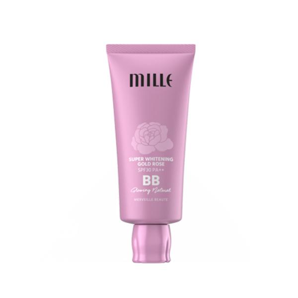 MILLE บีบีครีม SUPER WHITENING GOLD ROSE BB CREAM SPF30 PA++ 30G. (#02 GLOWING NATURAL)
