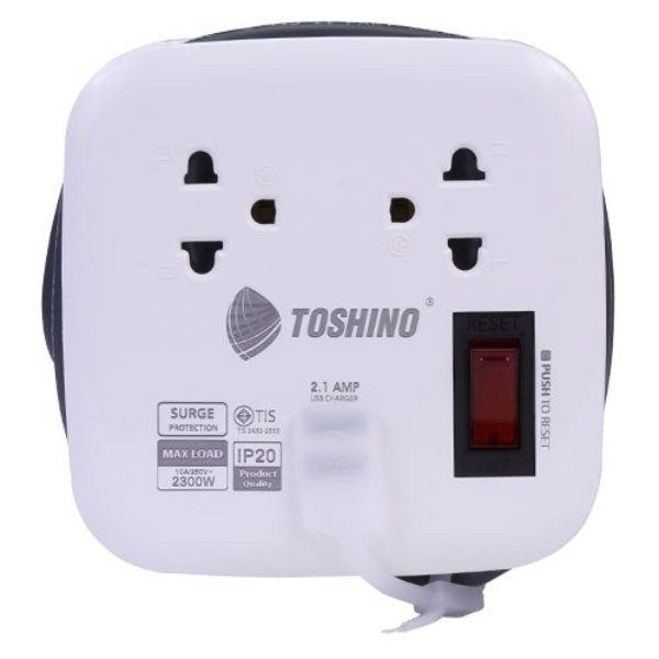 Toshino รางปลั๊กไฟ 2 ช่อง 1สวิตซ์ 2 USB ยาว 1 เมตร รุ่น XP-1M WH