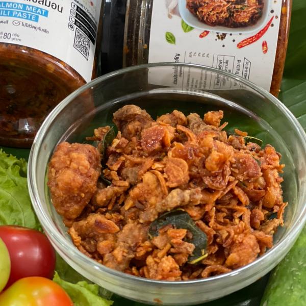 น้ำพริกเนื้อปลาแซลมอน ขนาด 80 กรัม ไม่ใส่ผงชูรส ไม่ใส่วัตถุกันเสีย
