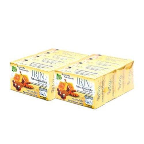 ไอริณ สบู่ดอกเกลือ สูตรขมิ้นและน้ำผึ้ง 100 กรัม สีเหลือง
