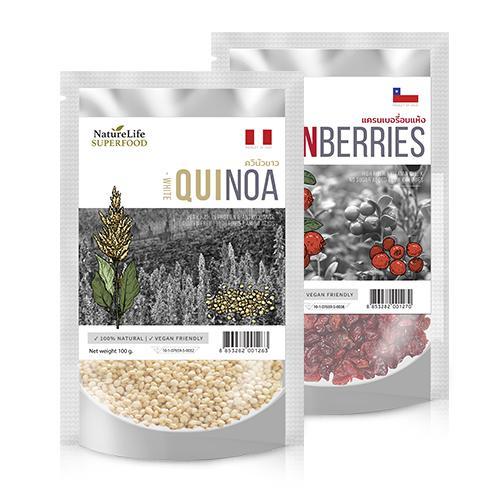 NatureLife superfood ควินัวขาว 100 กรัม จำนวน 2 ถุง แครนเบอร์รี่ 100 กรัม จำนวน 2 ถุง (อัครวินท์)