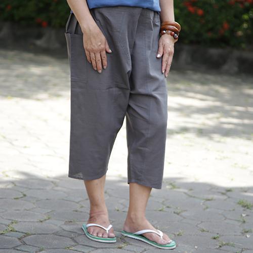 กางเกงเป้าหย่อน free size สีเทา