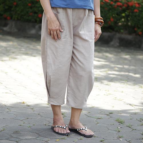 กางเกงขาจีบ free size สีครีม