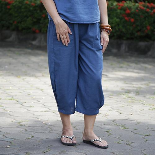 กางเกงขาจีบ free size สีกรมท่า