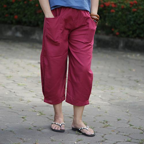 กางเกงขาจีบ free size สีแดง