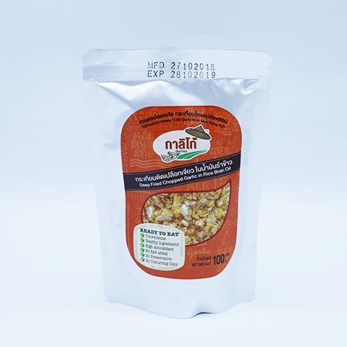 กระเทียมติดเปลือกเจียวในน้ำมันรำข้าว 100 กรัม 3 ถุง
