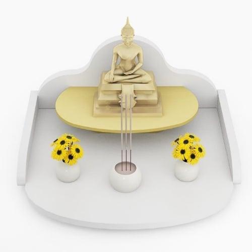 หิ้งพระแบบถาดขนาดเล็ก Mini Buddha Tray สีขาว