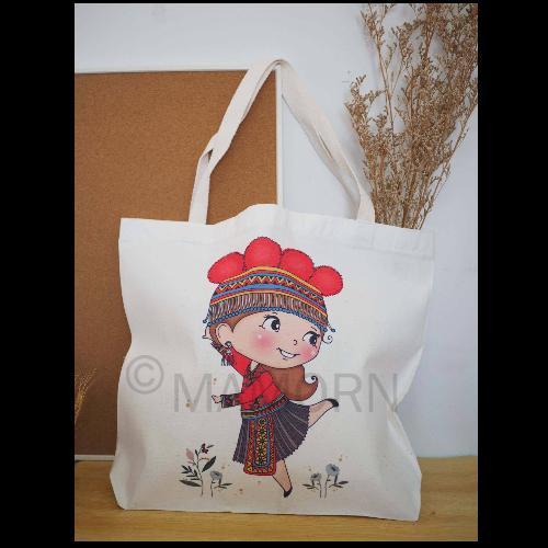 กระเป๋าผ้าลดโลกร้อนพิมพ์ลายสาวน้อยเผ่าม้ง ขนาดใหญ่ MXL03