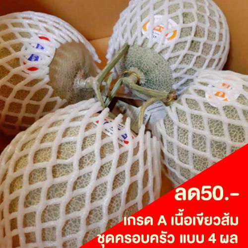 เมล่อนญี่ปุ่น (เนื้อเขียว-ส้ม) เกรดA ชุดครอบครัว 4 ผล ชุดโปรโมชั่น