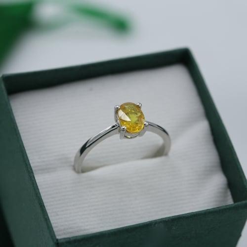 แหวนประจำวันเกิด วันจันทร์ บุษราคัม (ไซส์ 48)