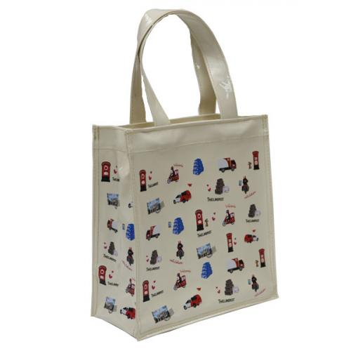 กระเป๋าผ้าแก้วพิมพ์ลาย ใบเล็ก สีครีม  ขนาด 20x20x8 ซม.