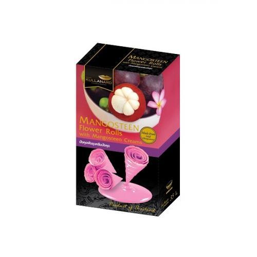 พับชุบครีมมังคุด Mangosteen Flower Rolls Dipped Durian Creams แบบลัง