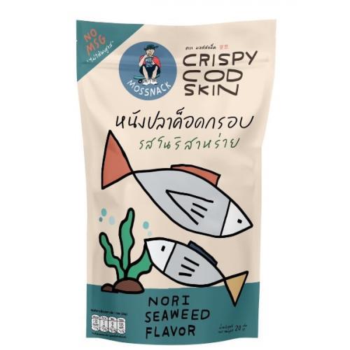 หนังปลาค็อดกรอบรสโนริสาหร่าย จำนวน 4 ห่อ Crispy Cod Skin (Nori Seaweed Flavor)