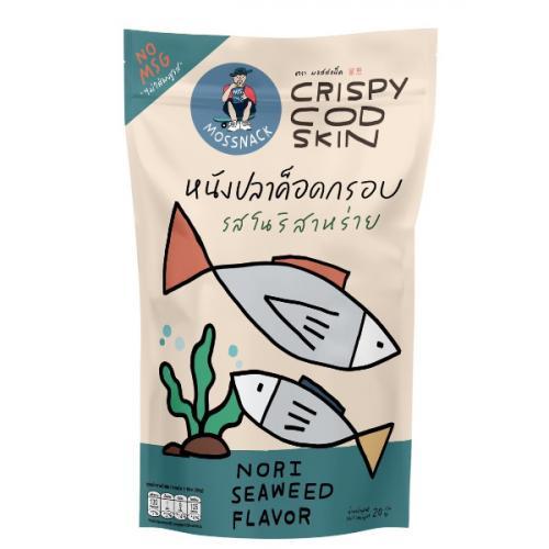 หนังปลาค็อดกรอบรสโนริสาหร่าย จำนวน 12 ห่อ Crispy Cod Skin (Nori Seaweed Flavor)