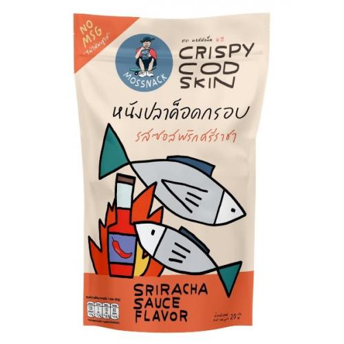 หนังปลาค็อดกรอบรสซอสพริกศรีราชา จำนวน 4 ห่อ Crispy Cod Skin (Sriracha Sauce Flavor)