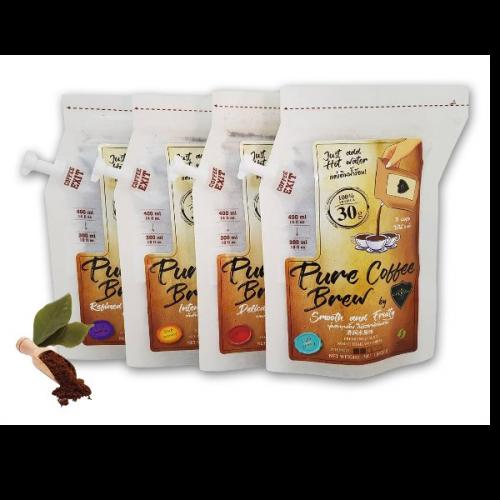 กาแฟบด Coffee Brew Bag by CAFE R'ONN 4 X ถุง อาราบิก้า 100% รวมคั่วอ่อน กลาง เข้ม คั่วดำ 120 กรัม(30g/ถุง,ชงได้3แก้ว/ถุง)