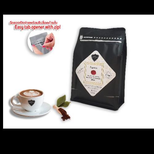 กาแฟบด ถุงซิปล็อค CAFE R'ONN อาราบิก้า 100%  คั่วกลาง เอสเปรสโซ่ 250 กรัม
