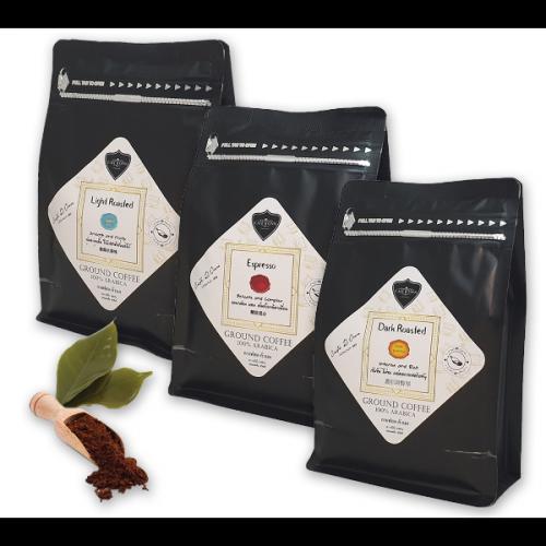 กาแฟบด ถุงซิปล็อค CAFE R'ONN อาราบิก้า 100%  คั่วอ่อน คั่วกลาง คั่วเข้ม 750 กรัม (250g X 3 ถุง)