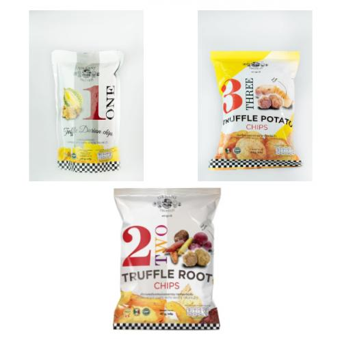 Truffle Durian Chips 1+Truffle Root Chips 1 ซอง +Truffle Potato Chips 1 ซอง( รวมเป็น 3 ซอง)
