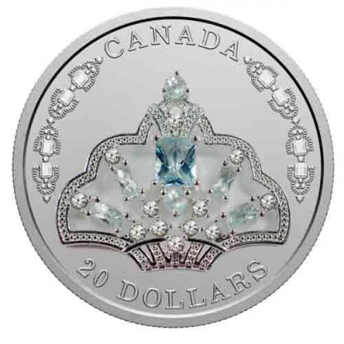 Canada Coin, 2020 HM Queen Elizabeth II's Brazilian Aquamarine Tiara Silver Coin