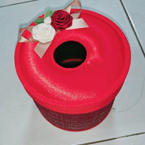 กล่องใส่กระดาษทิชชู่ ทรงกลม สีแดงสด