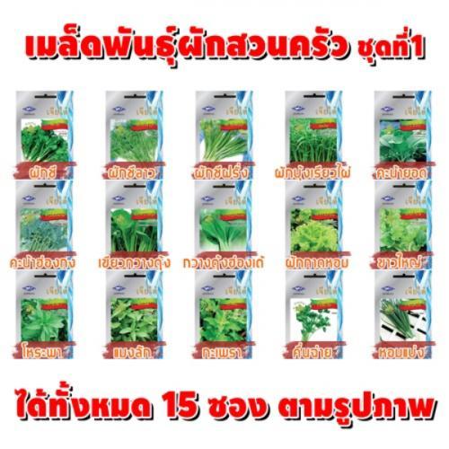 เมล็ดพันธุ์ผัก SET1 (ชุด15ซอง)